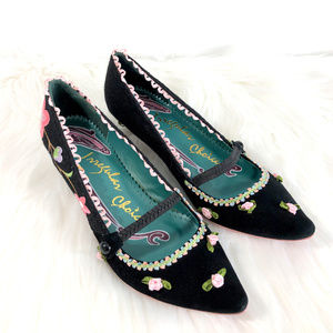 Irregular Choice Velvet Flower Embroidery Heels